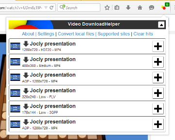 Downloadhelper video download browser extension.